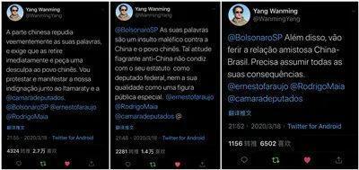 巴西总统之子发表反华言论 我大使回击