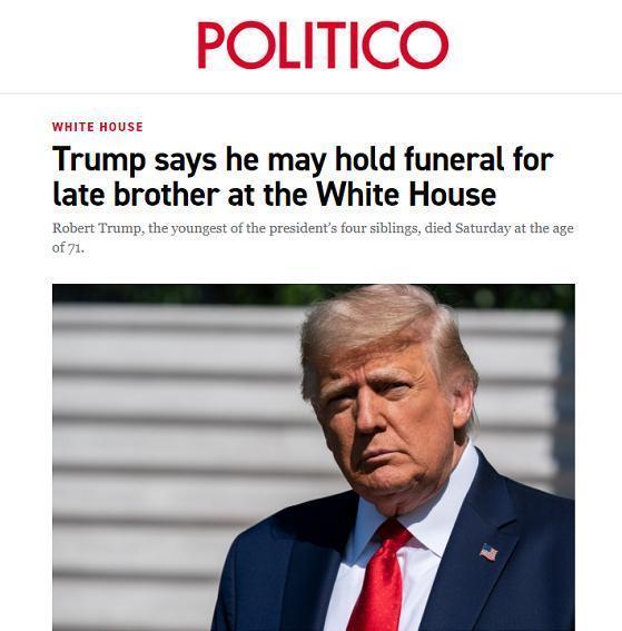 川普方案这周在美国白宫为侄子举办告别仪式:我想他会觉得有幸