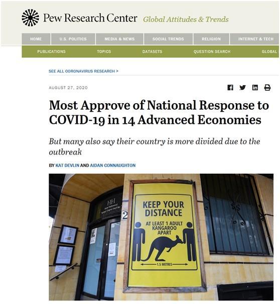 皮尤调研:14个资本主义国家中,英美一半以上被访者觉得该国肺炎疫情解决槽糕