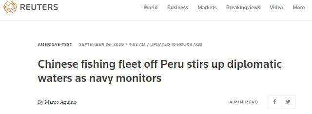 """中国渔船在秘鲁附近水域捕鱼,引发了中美之间的""""推特战争"""""""